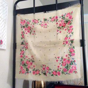 🌷 Beautiful vintage floral scarf gauzy spring vtg